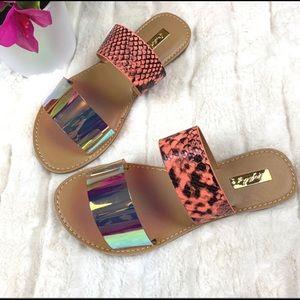 Iridescent/Orange Snakeskin Sandals